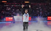 DREAM COME TRUE: From childhood dream to reality: Staples Center's spotlight was on fast-rising FilAm star Inigo Pascual who performed at the Filipino Heritage Night of the LA Clippers this week. (Photo by Sthanlee Mirador)